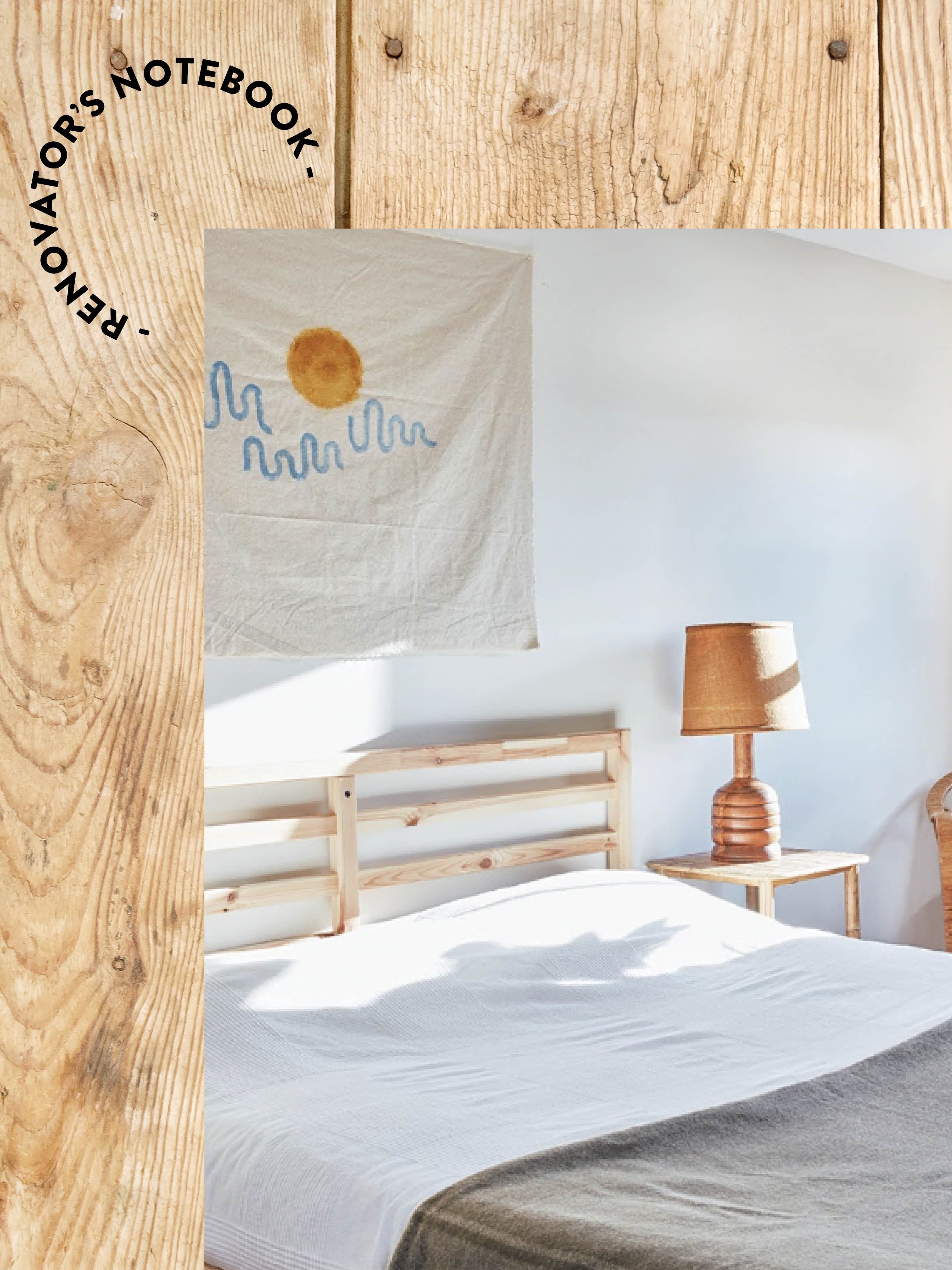 bedroom on background of wood