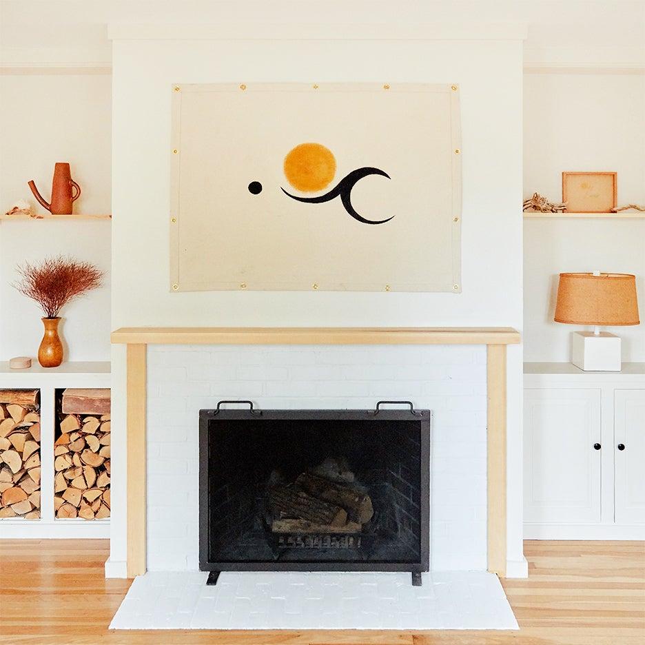 wood living room mantel