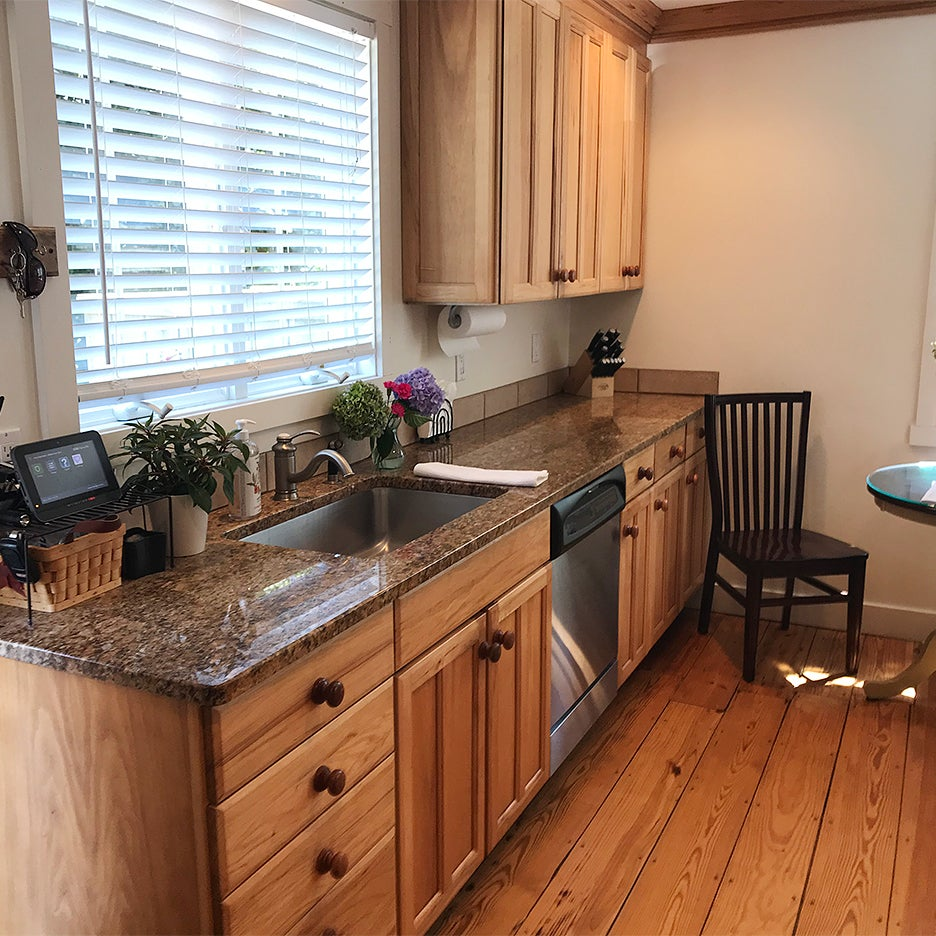 befoere kitchen with dark counters