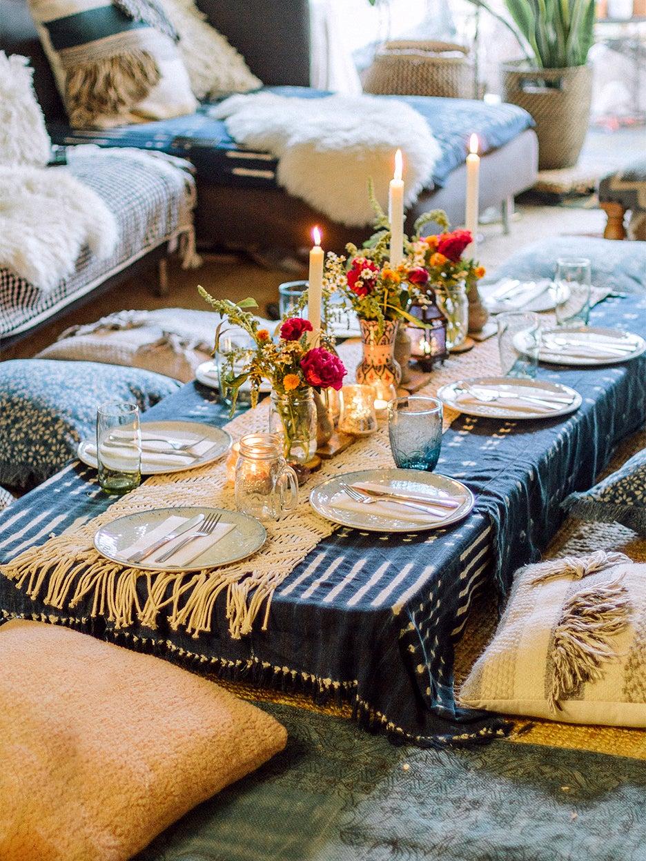 Dinner table on the floor