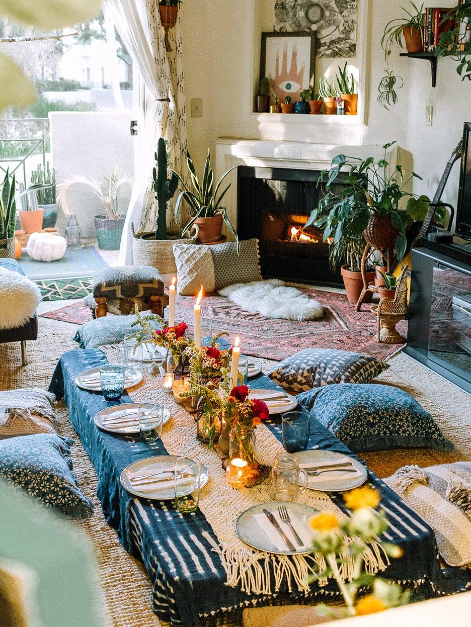Dinner table on floor