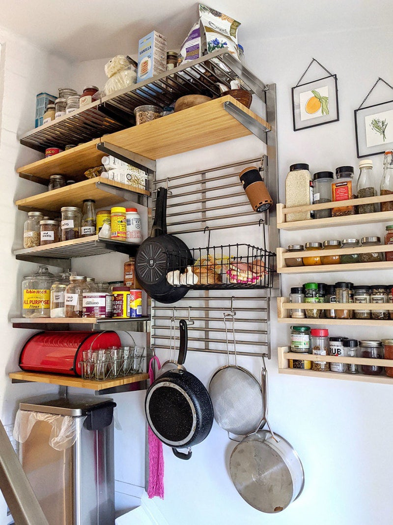 wood and steel shelves