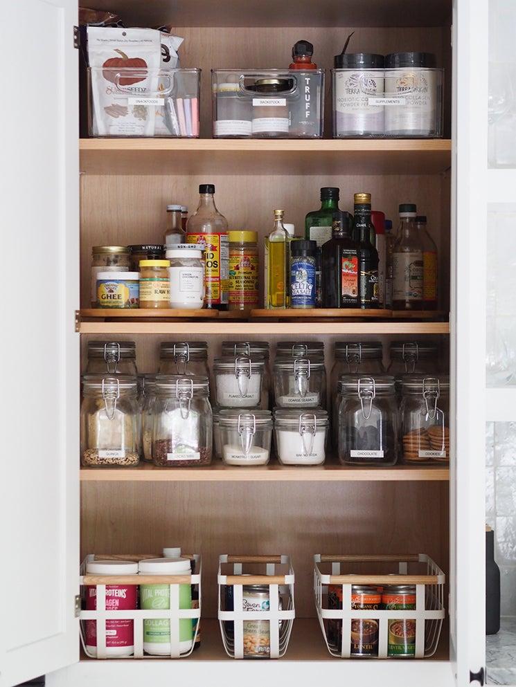pantry bottles and oils on shelves