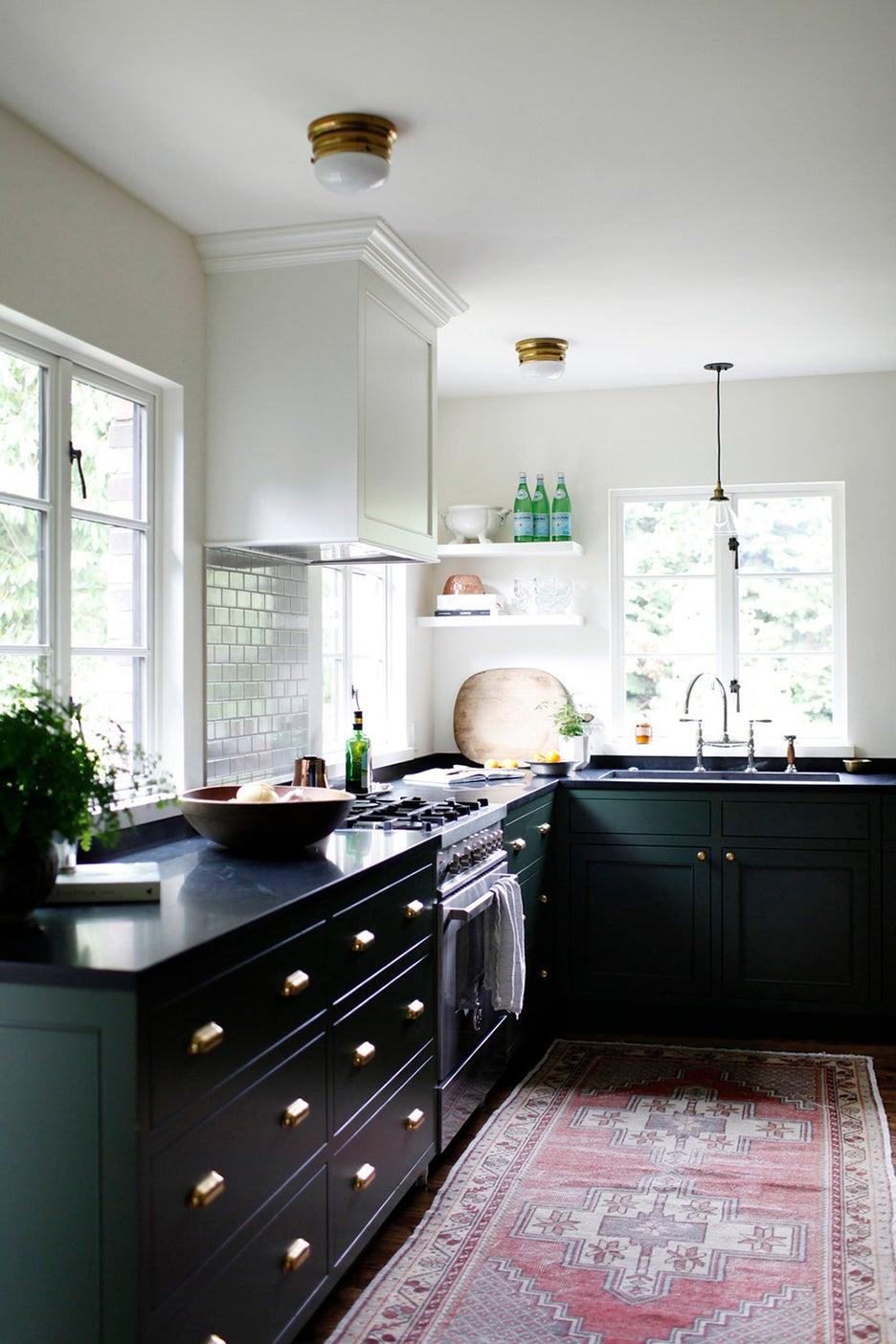 green lower ktichen cabinets