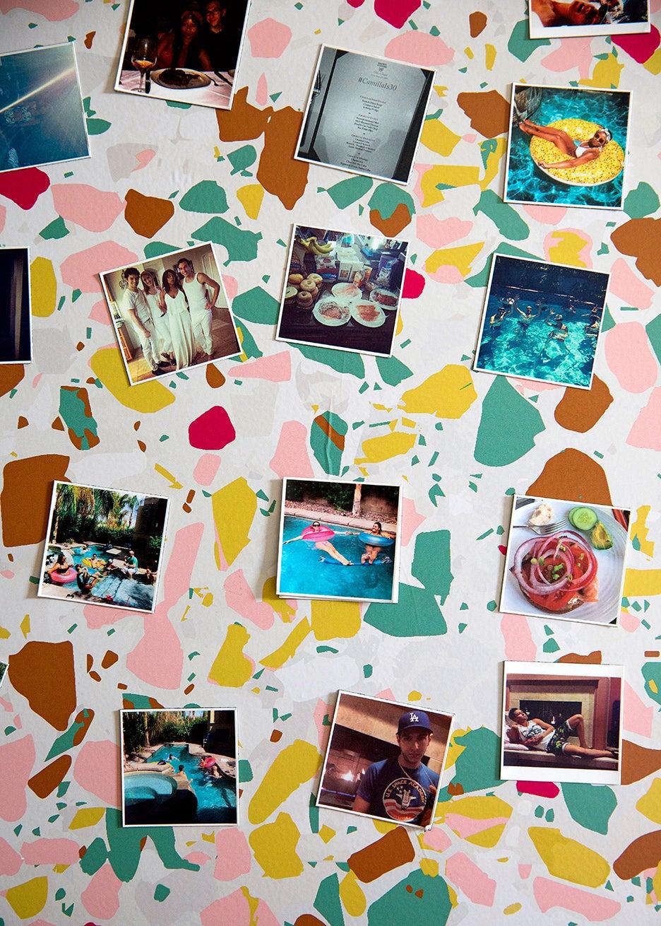photos taped to fridge
