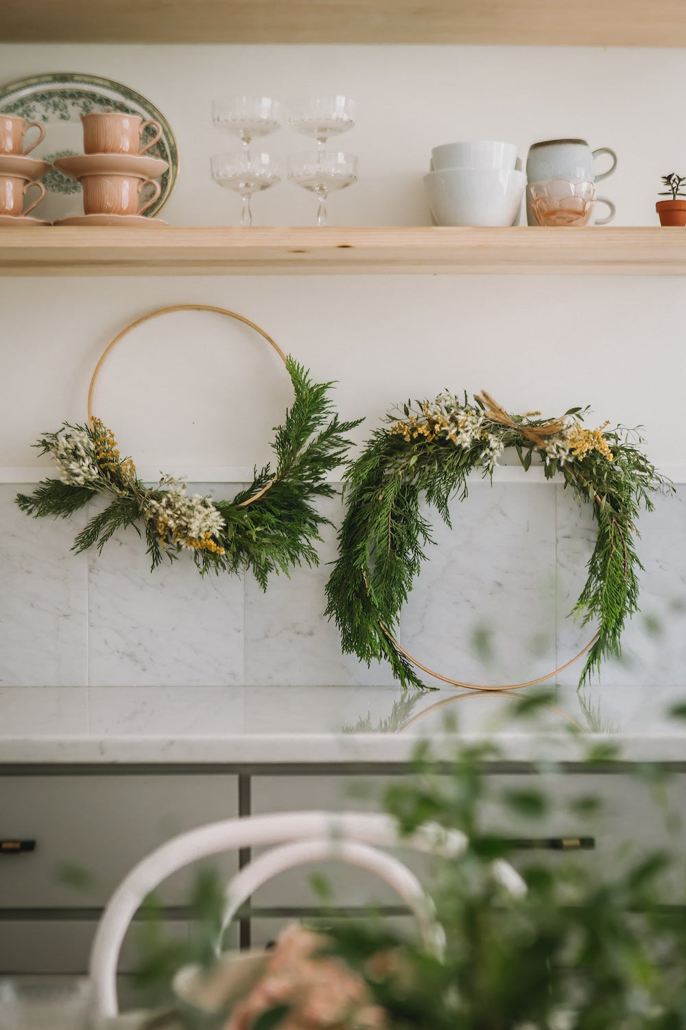 wreaths on kitchne wall