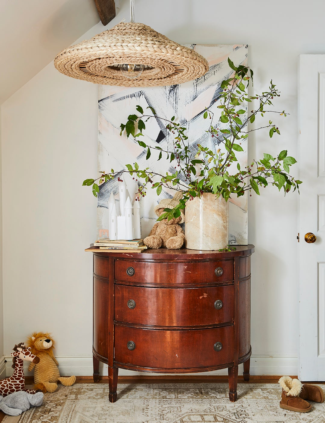 Leanne Ford home Pittsburgh - side table with woven pendant light