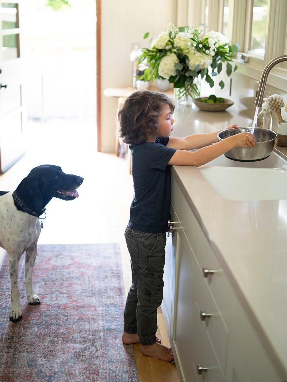 boy at sink