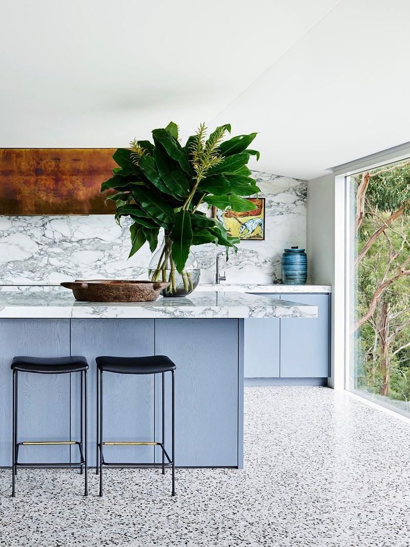 Powder blue kitchen cabinet color