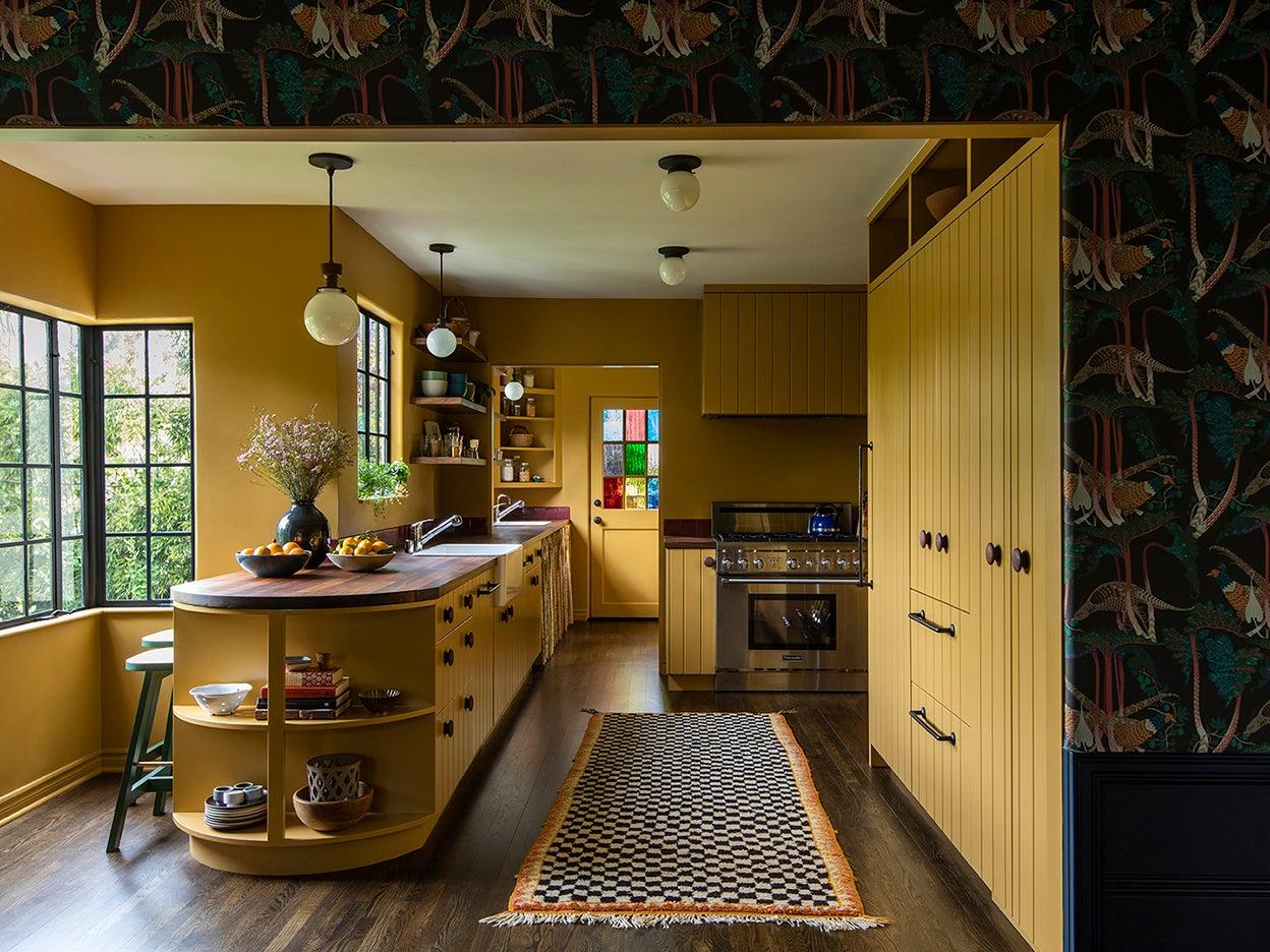 Mustard kitchen cabinet color