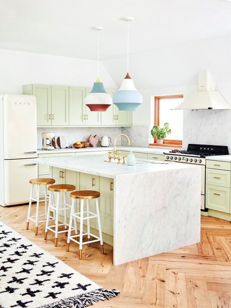 Mint green kitchen cabinet color