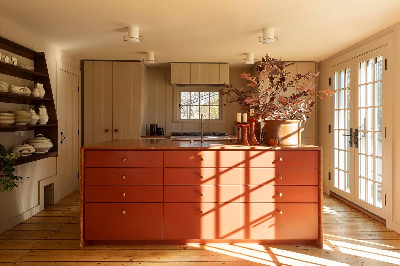 Rust orange kitchen cabinet color