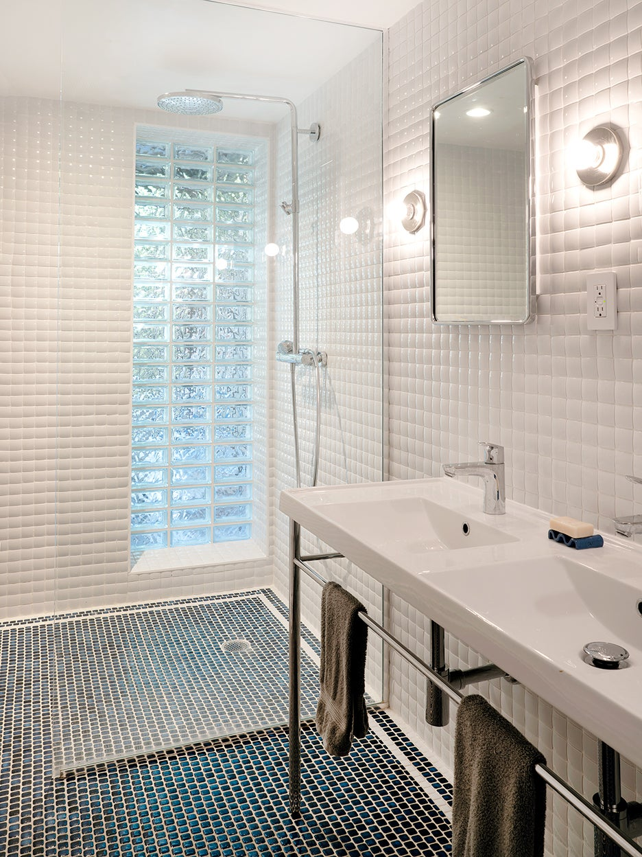 White bathroom with pillow tiles