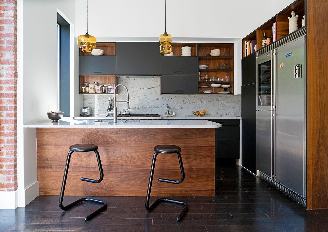 Walnut and black kitchen