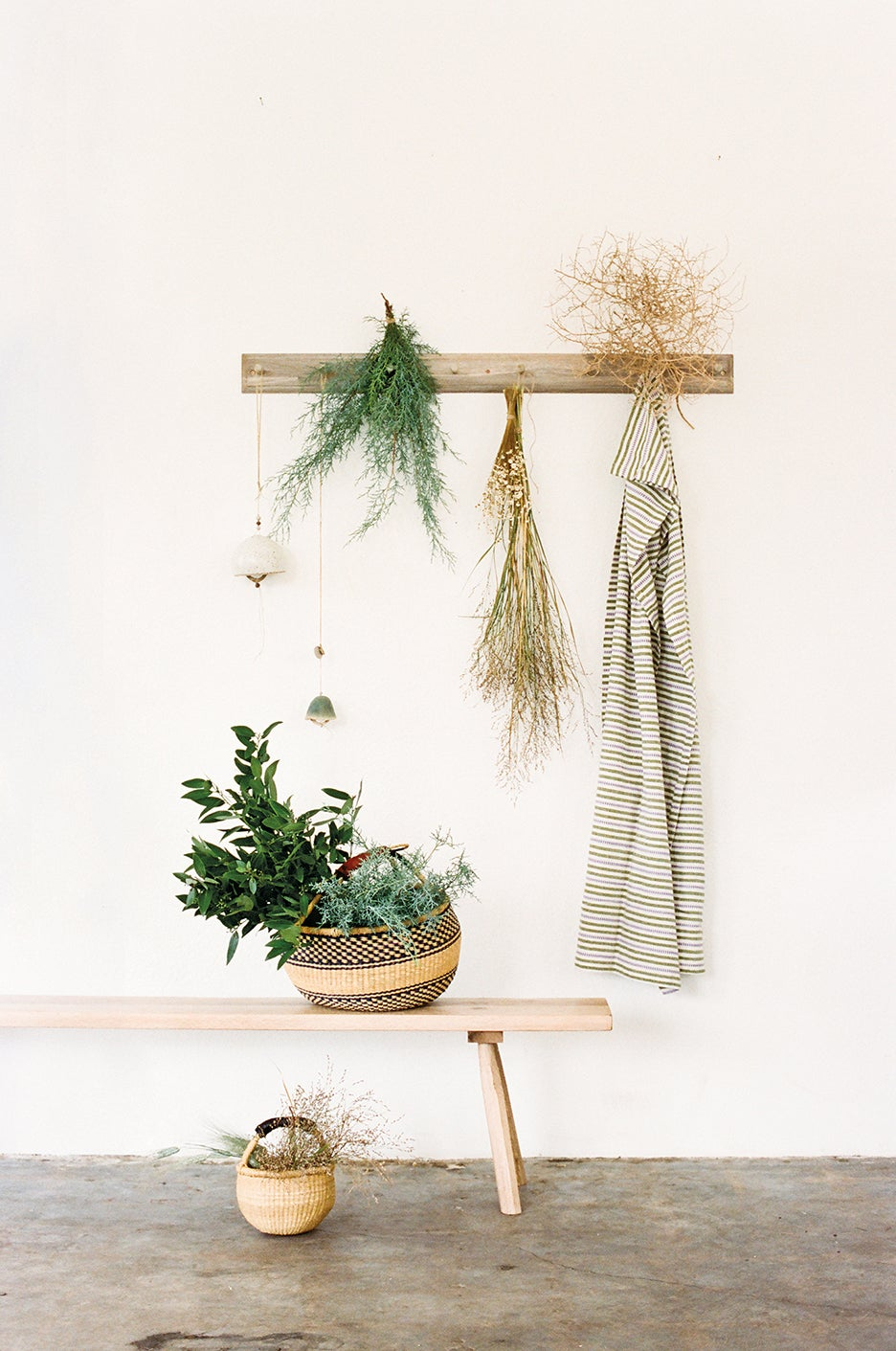 Hanging dried flowers and greenery.