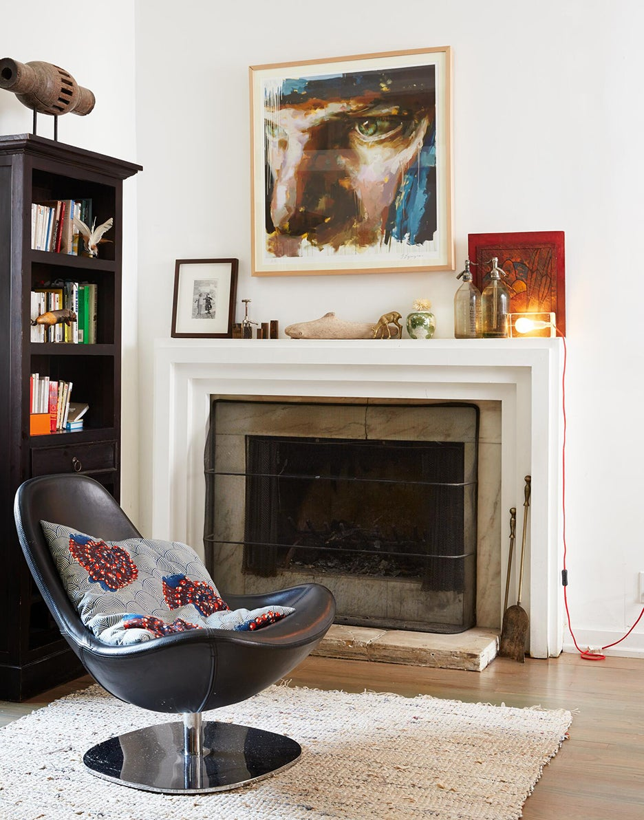 Fireplace with leather chair