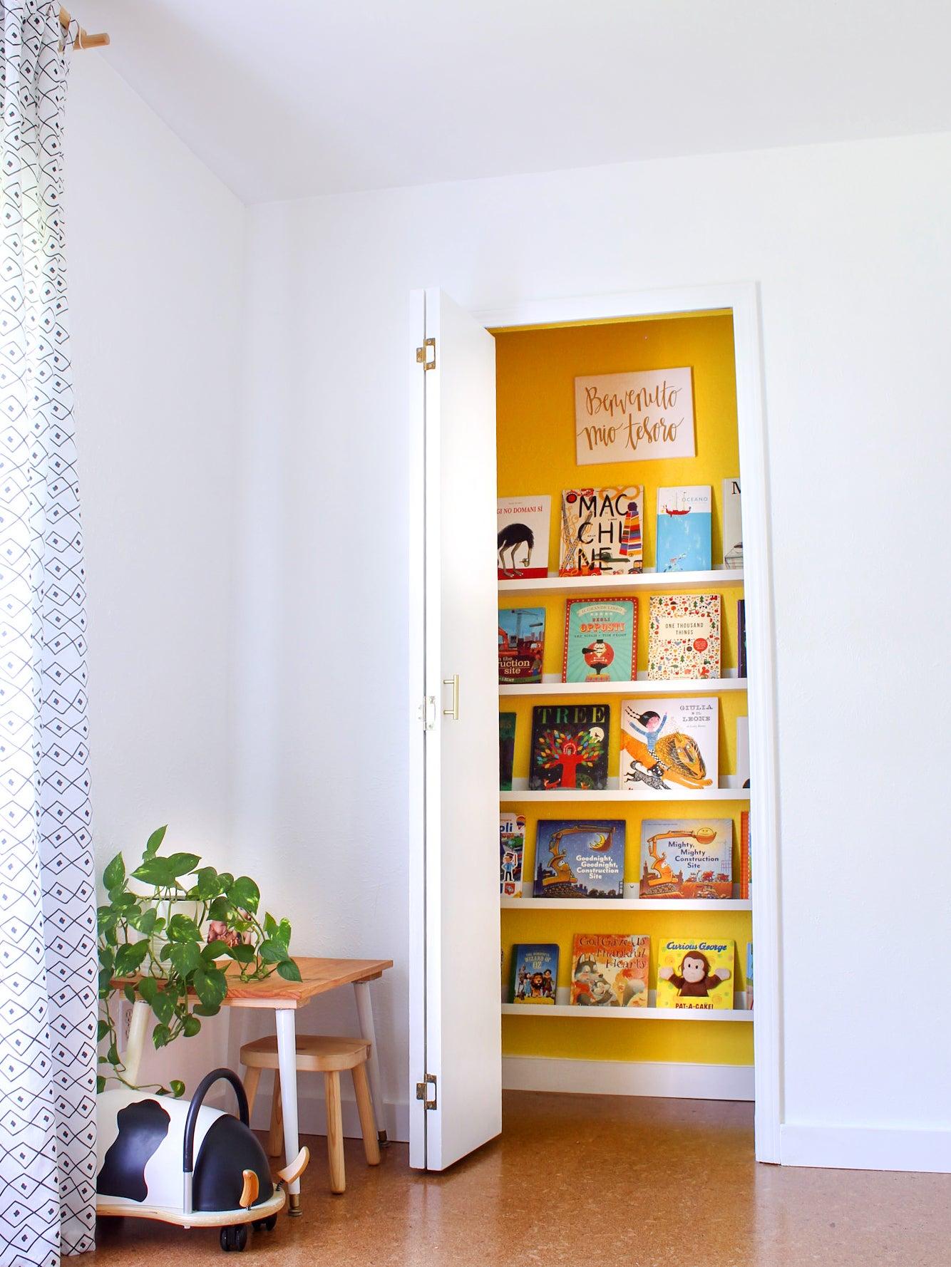 yellow painted closet