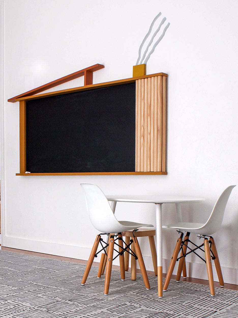 chalkboard with small table