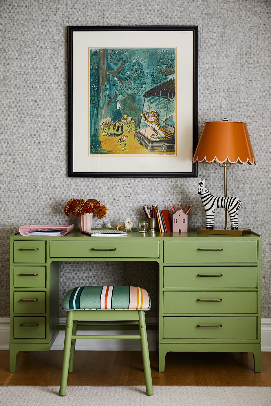 Green kids desk and stool