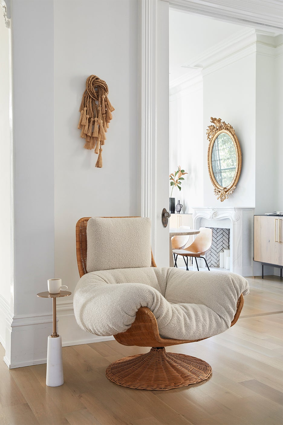 Cozy soft chair in a white living room