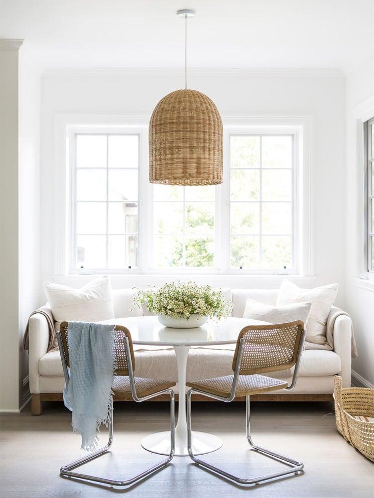 Sofa as part of a dining room setup