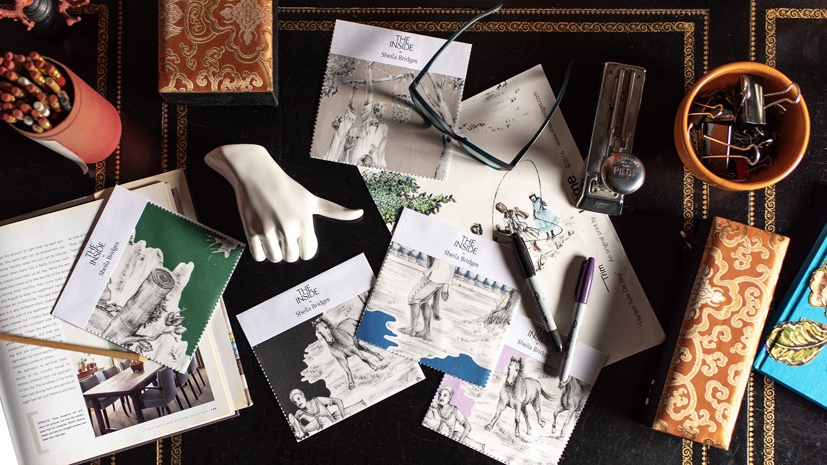 Swatches and samples for toile patter