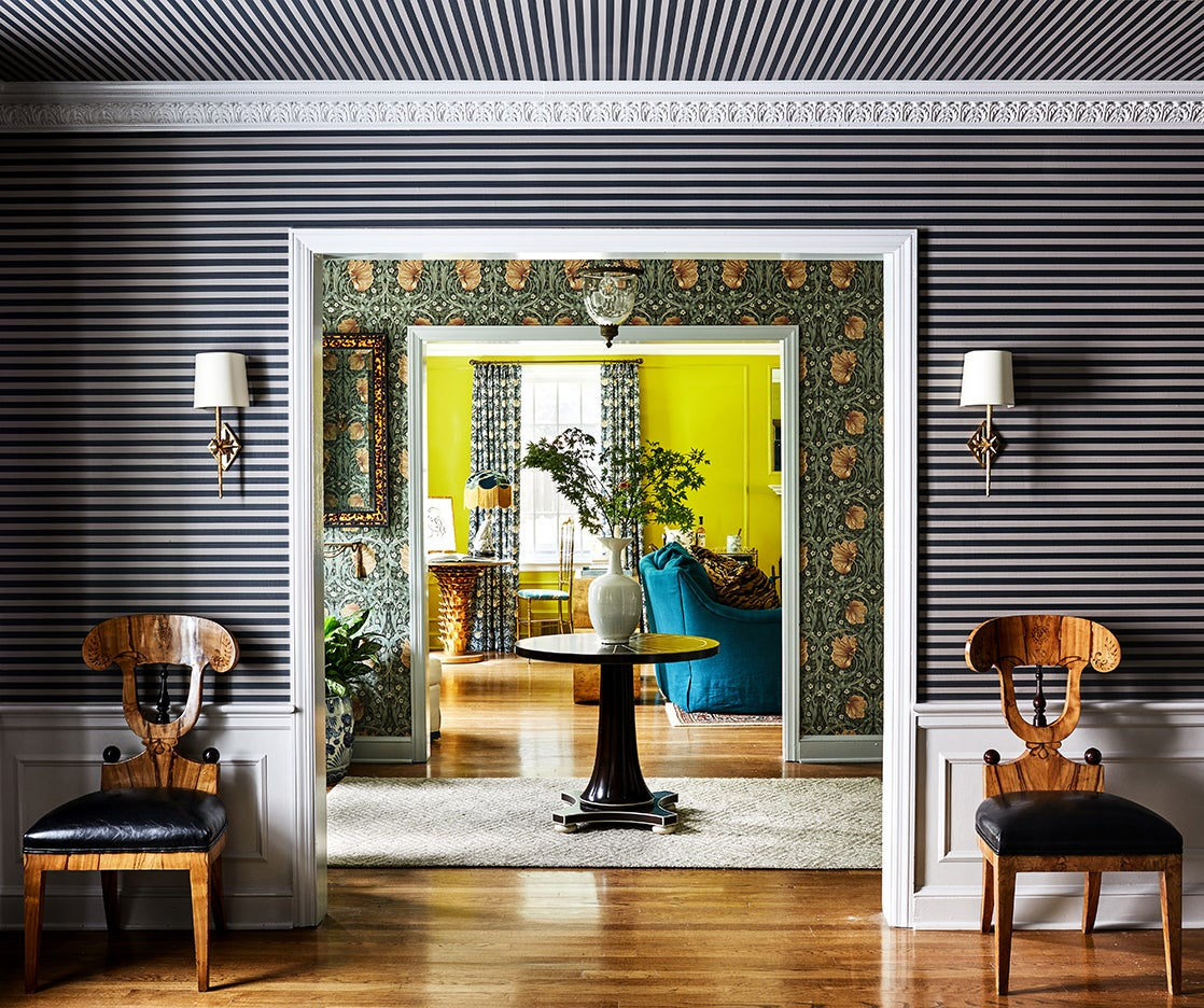 Home with striped and floral wallpapers