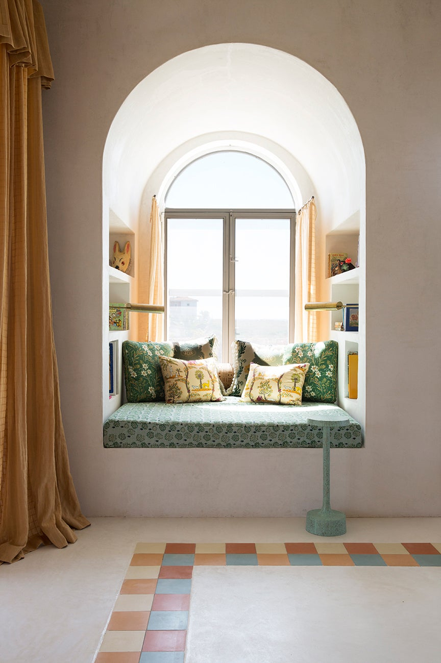 Window reading nook with bookcases