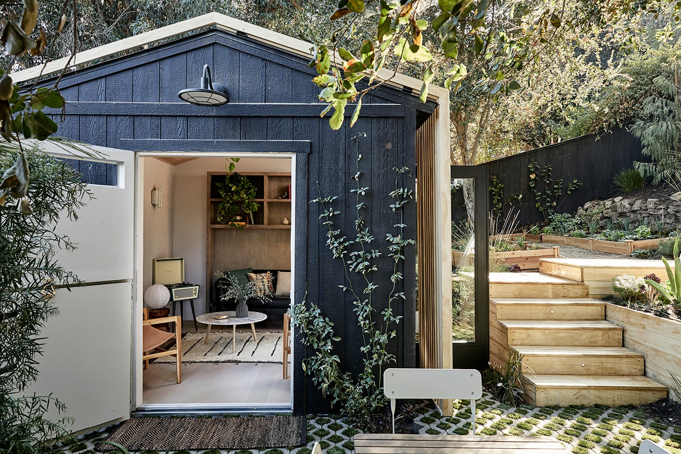 Backyard with separate office shed