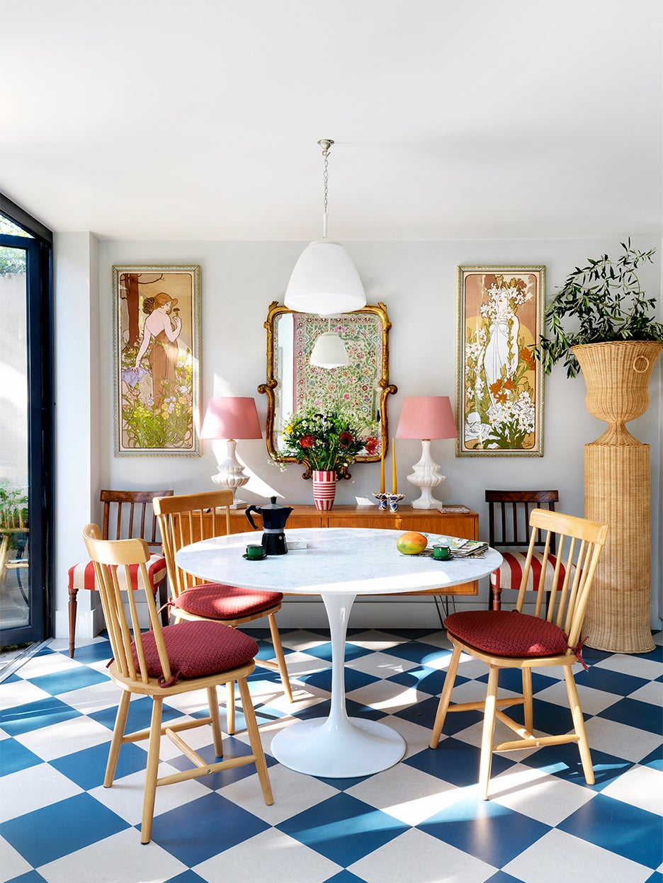Dining area with checkered floors