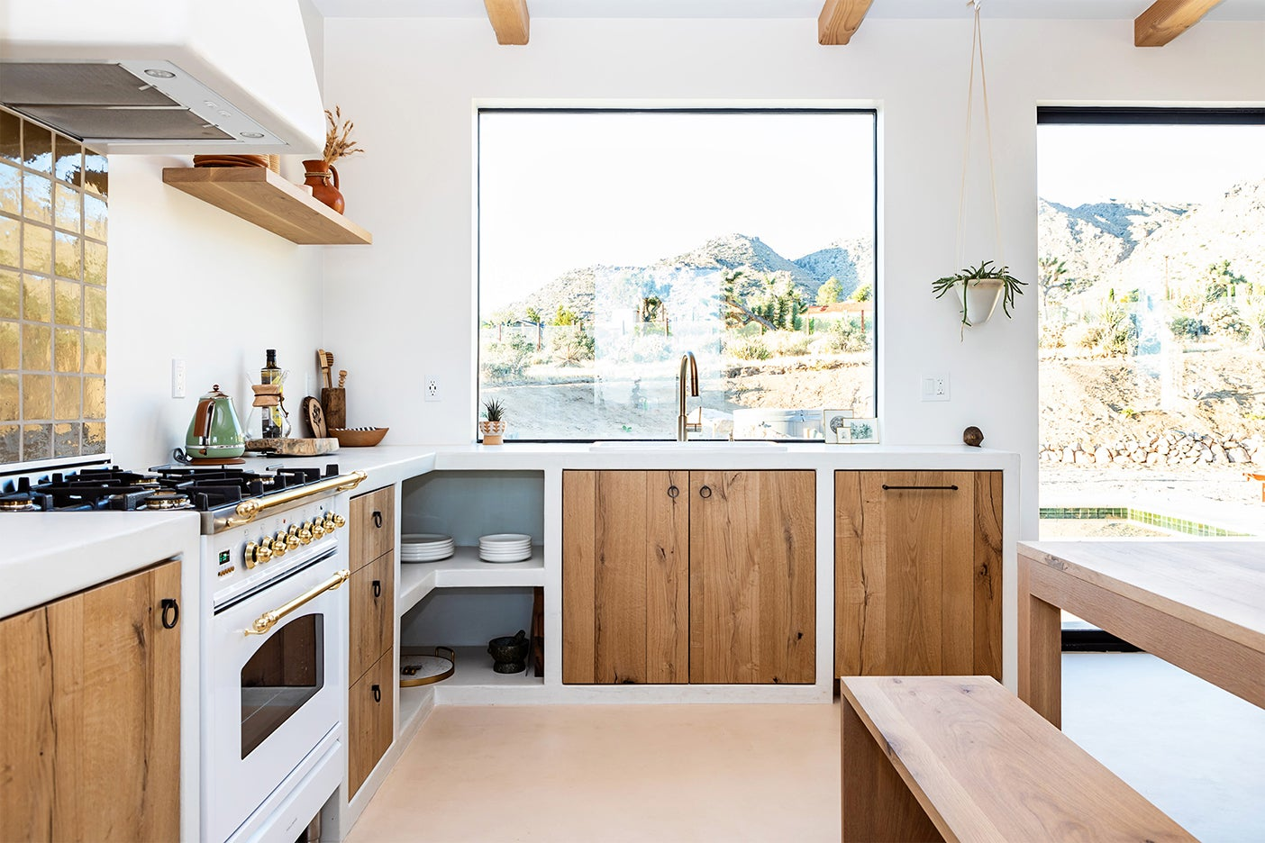 Kitchen with finca-style cabinets