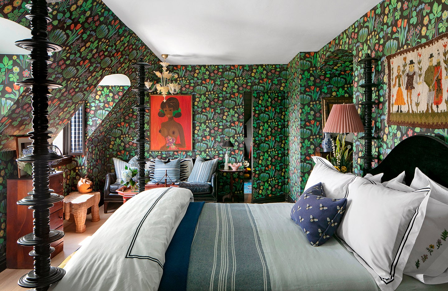 Bedroom with green floral wallpaper