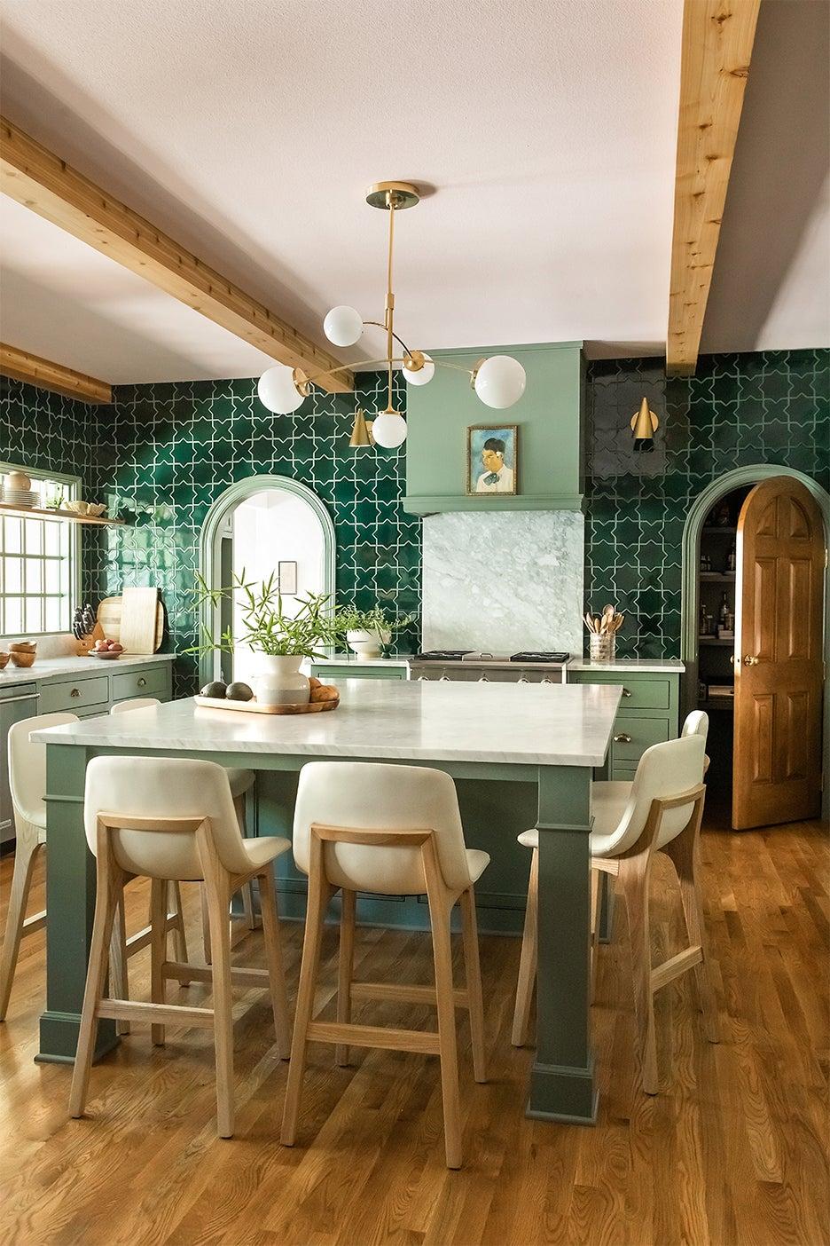 large green kitchen