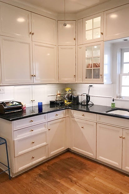 white dated kitchen