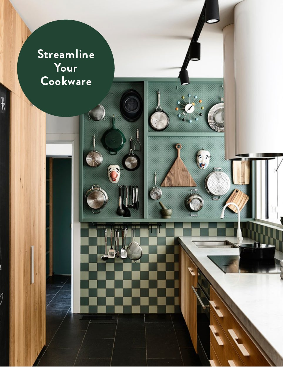 graphic showing green pegboard kitchen