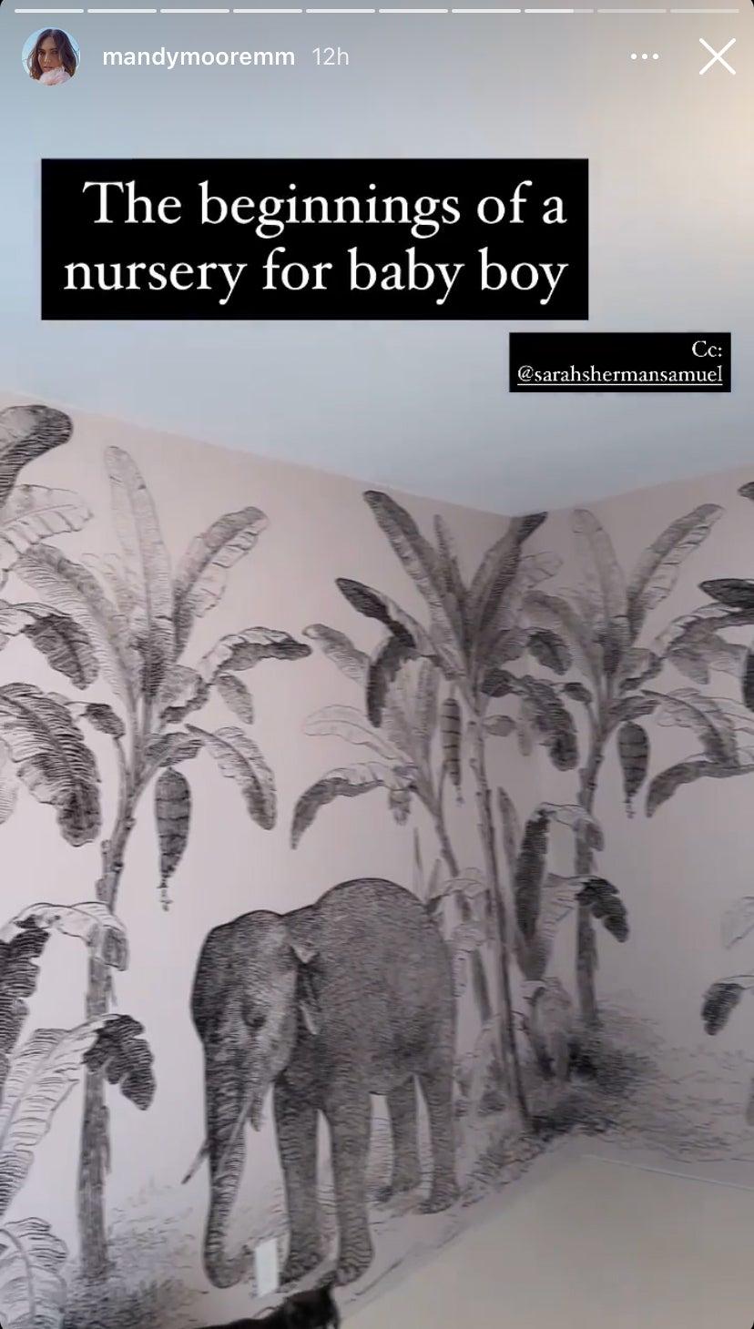 Screen shot of elephant wallpaper in nursery