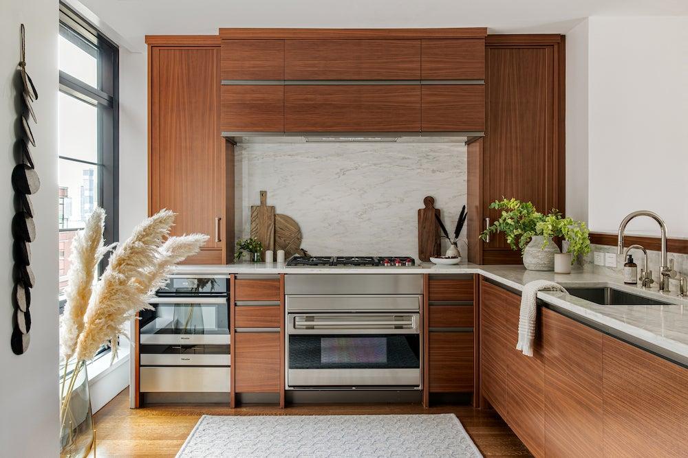 modern red wood kitchen