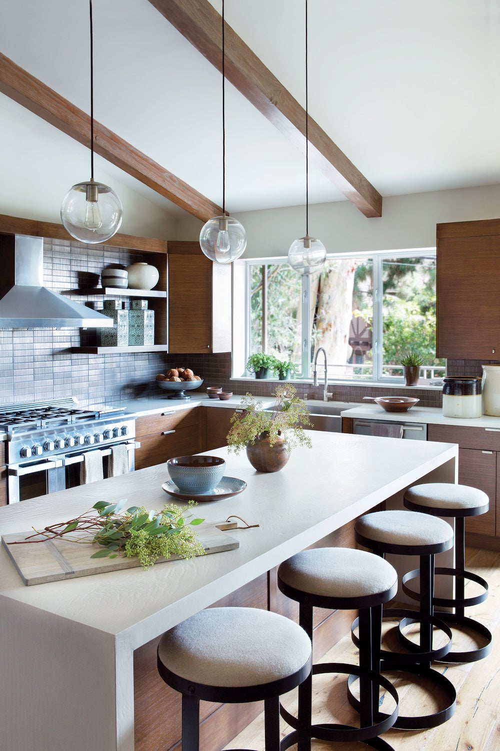 mid century kitchen with vaulted ceiling