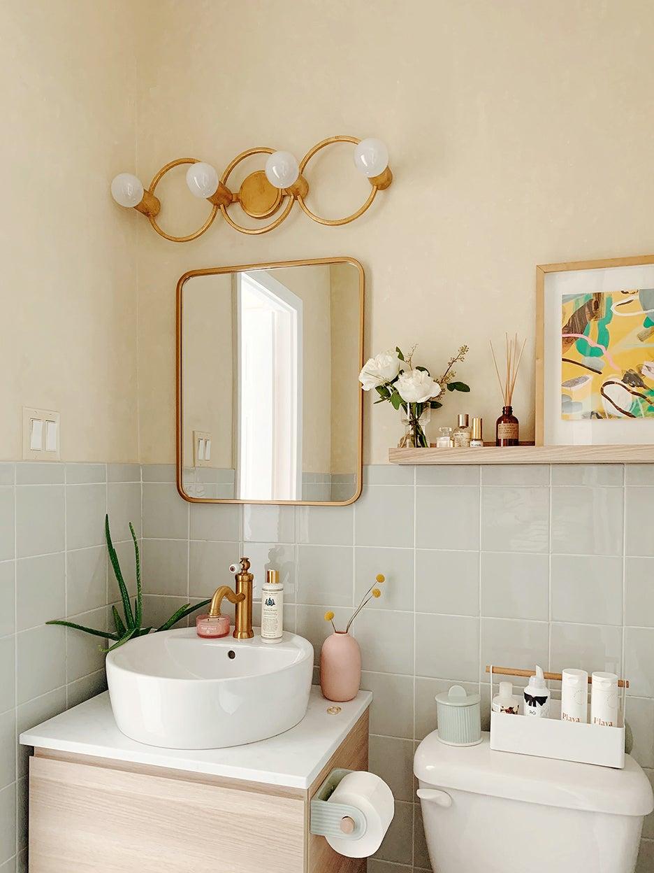 zen green tile tiny bathroom