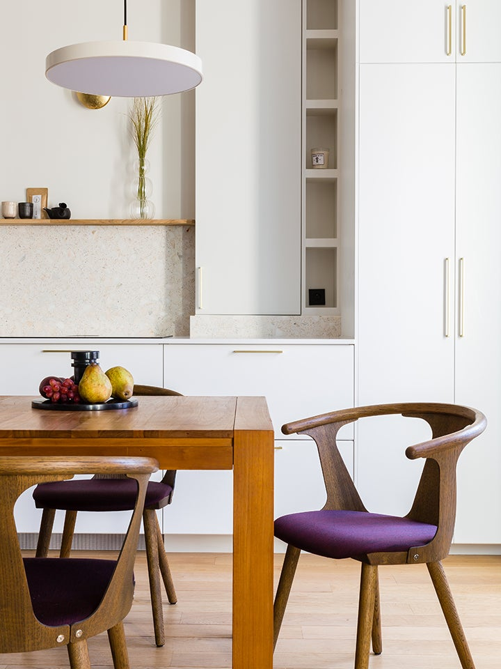 modern kitchen with dinign table