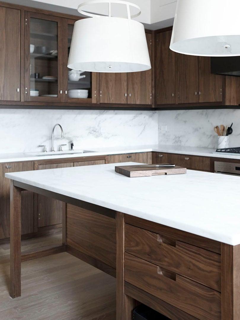 dark brown kitchen with white counter