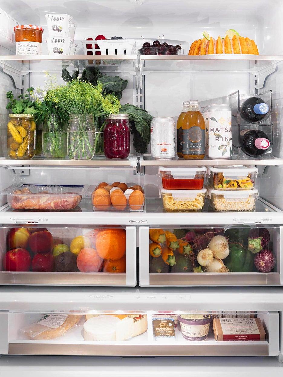 interior view of organized fridge