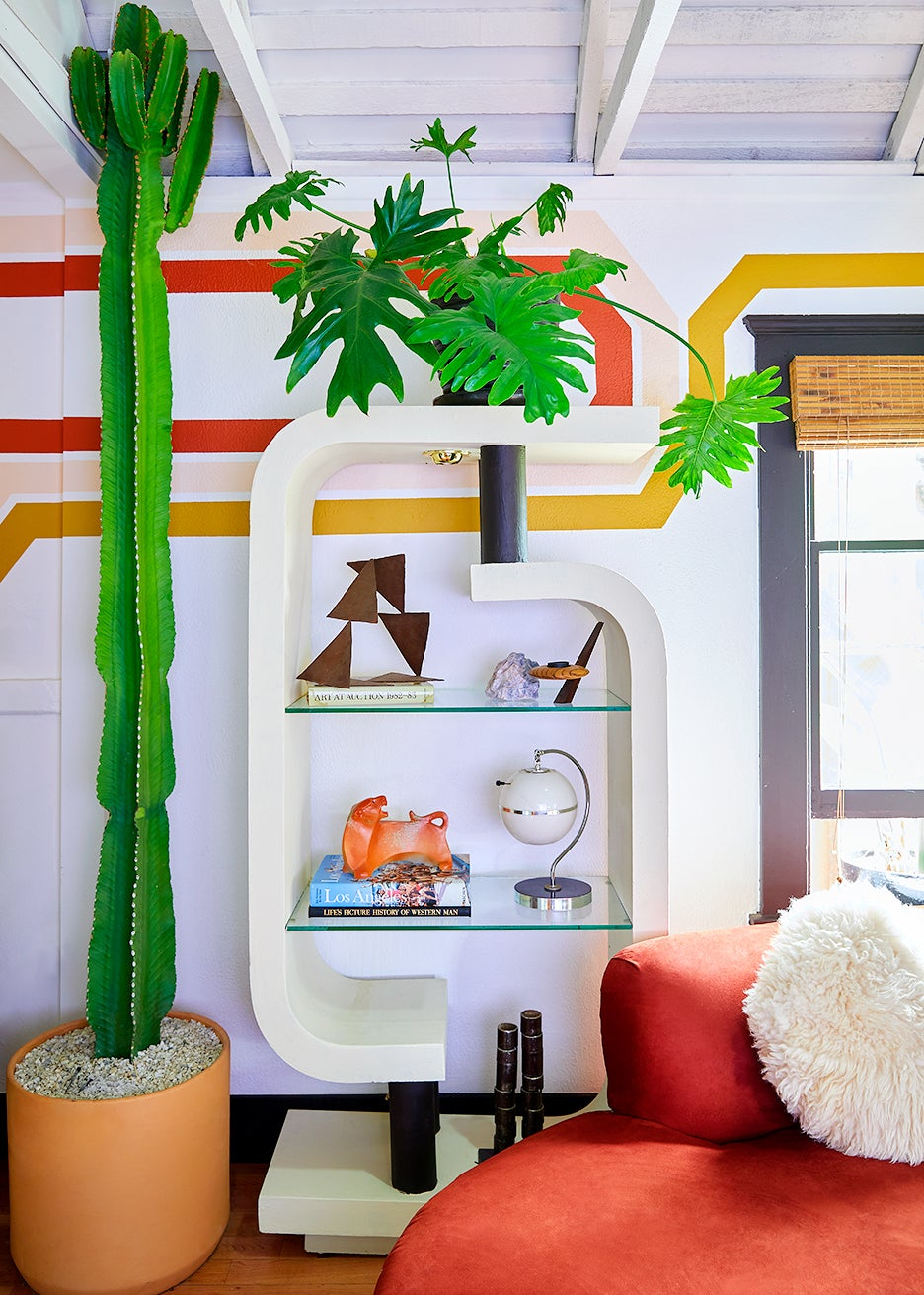 70s bookcase and cactus
