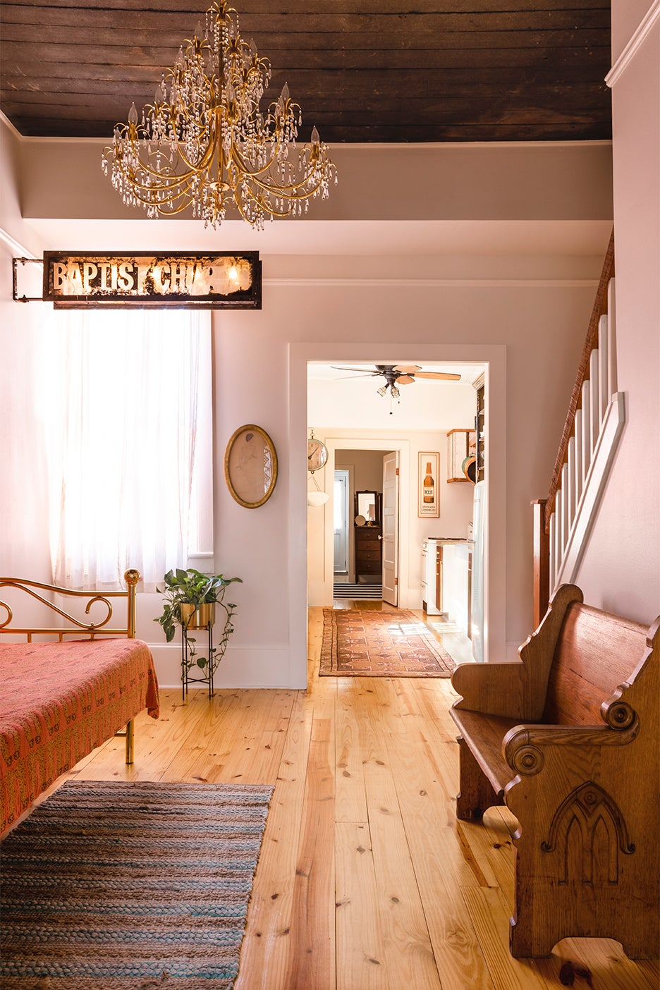 Entryway with vintage church sign
