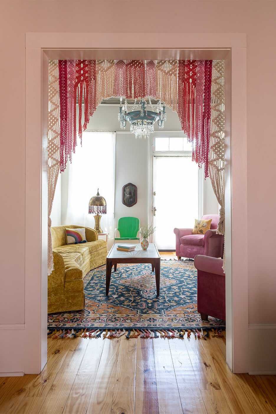 Vintage living room with macrame curtains
