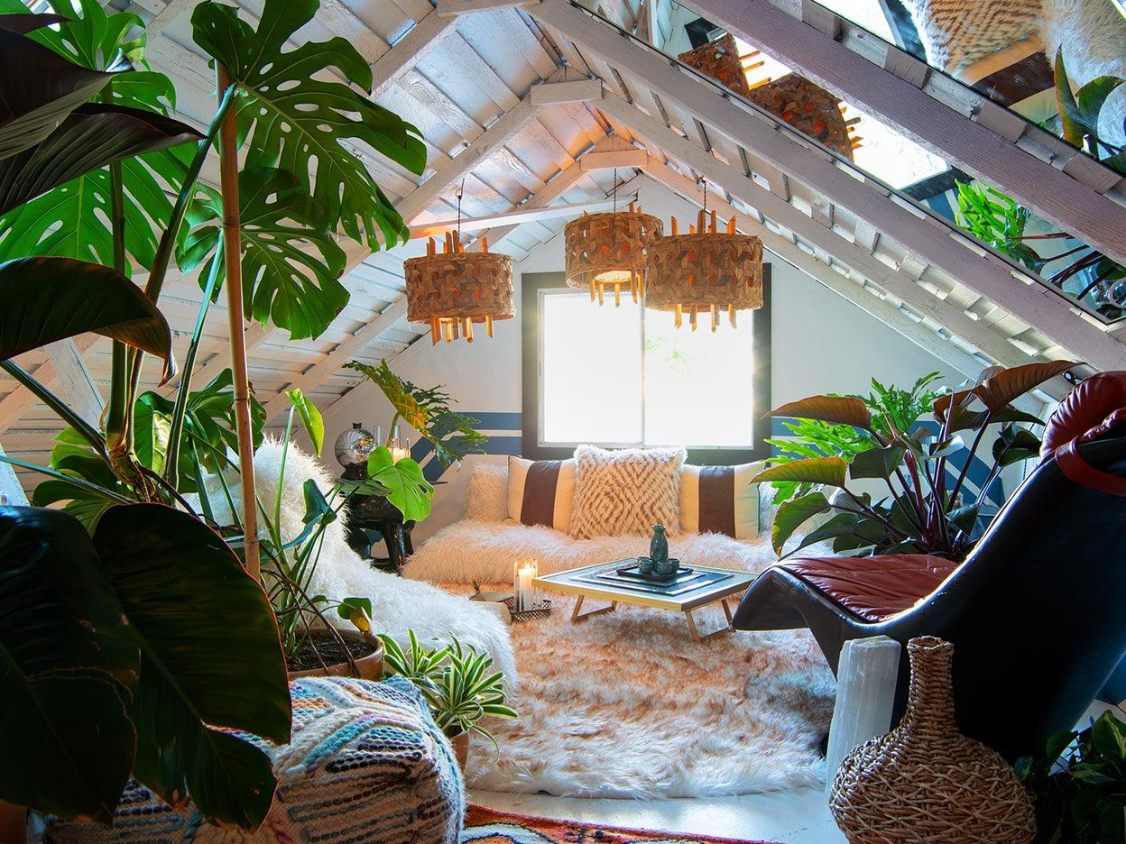 Loft with shag carpet