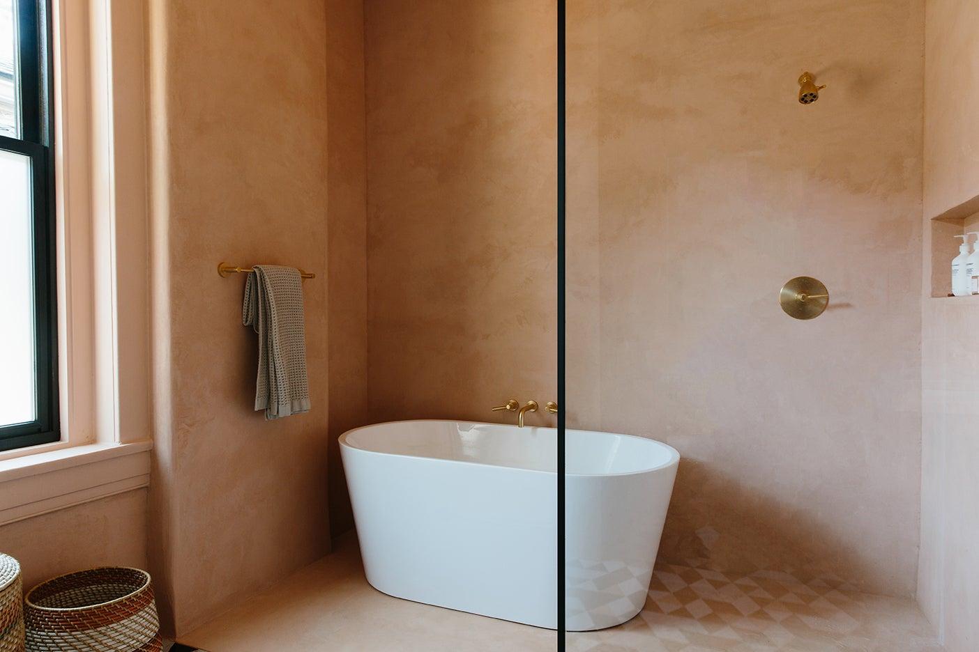 Pink plaster bathroom