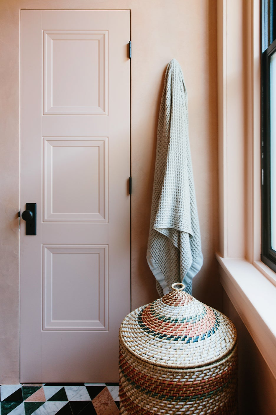 Pink plaster bathroom renovation