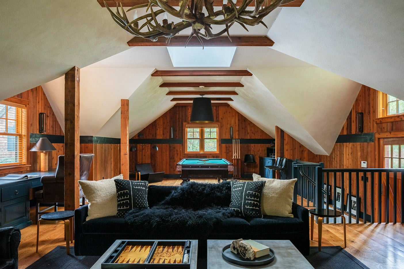 Wood paneled loft