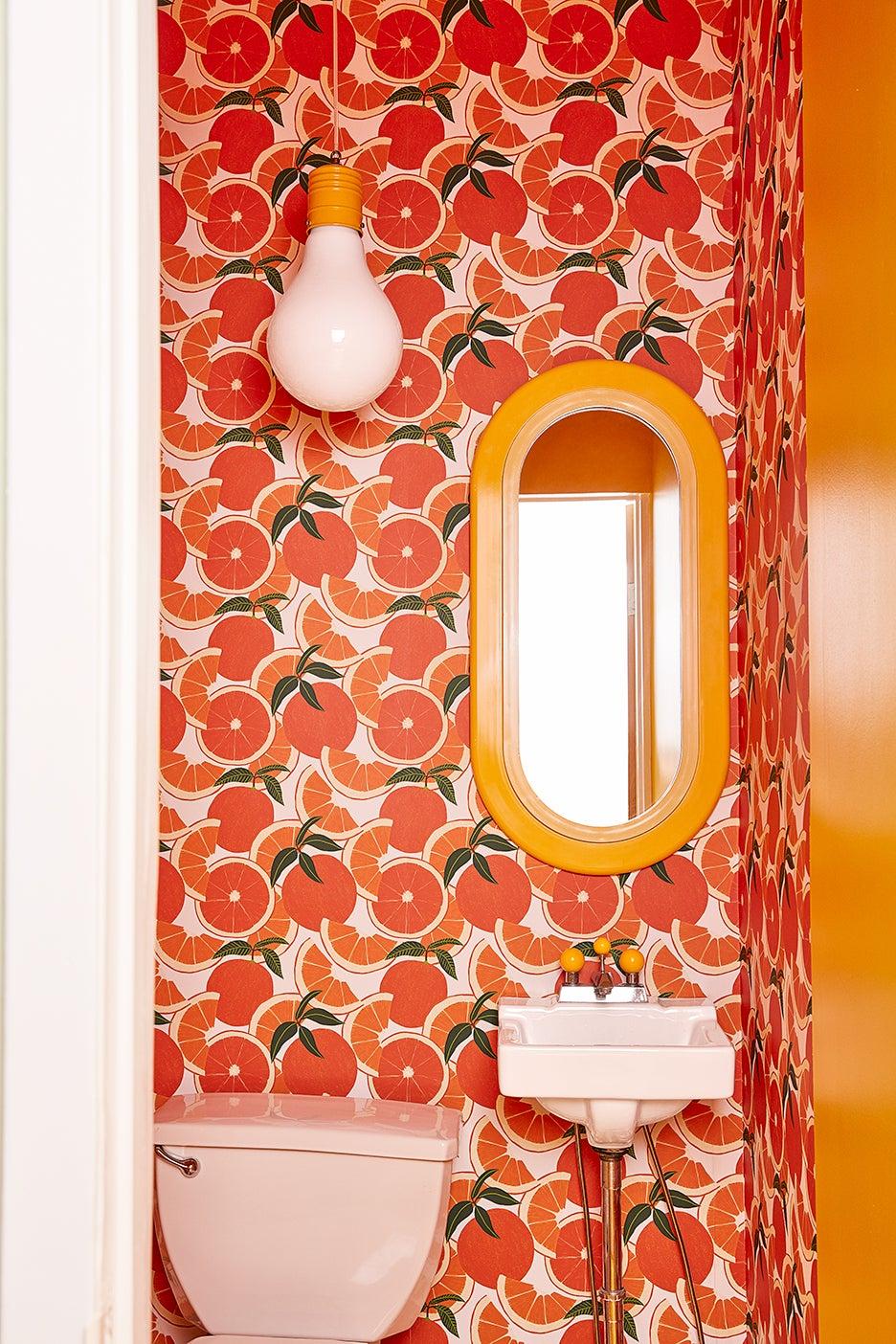 orange print bathroom